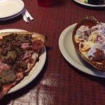 meat pizza, meatballs