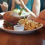 Burger & fries and Fish Tacos (behind)