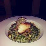 Seabass with cilantro orzo
