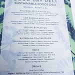 One of the menus from a trip to Good Day Deli