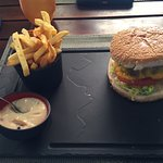 Burger and chips with pepper mayo