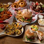 Overstuffed sandwiches, burgers, wings and more.
