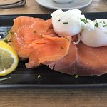 Salmon with poached egg breakfast