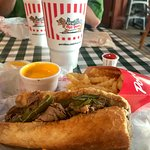 Italian Beef with Sweet Peppers, cheese fries.