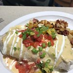 The breakfast burrito and cinnamon roll could definitely be shared by 2 non-hearty eaters. Both