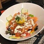 Salade saumon fumé et crevettes.