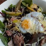 Black pudding salad with braised pears, fresh grated parmesan and a quail egg
