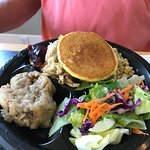 Miss Leta's meat and three...chicken dressing, salad, peas, cornbread pancake, and bread pudding