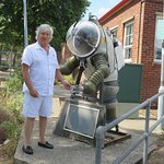 Being greeted by a old diving suit at the Submarine Museum, Gosport