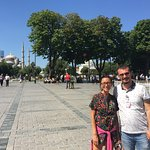 On our way with Oz to Hagia Sophia after visiting the Blue Mosque