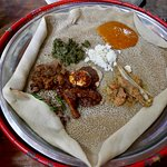 Meal at Finfine Restaurant, Addis Ababa