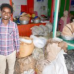 With Birhanu at the markets in Addis Ababa