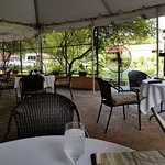 Outside dining- under tents, with fans if warm.