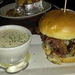 Rodeo Burger w/Clam Chowder...