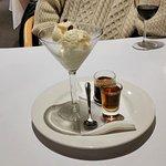 Kangaroo Island affogato, KIS haney & walnut liquer and vammilla ice cream
