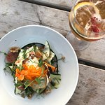 Warm goats cheese and squash salad (gluten free).