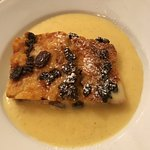 Gluten-free bread and butter pudding with creme Anglaise