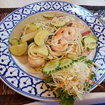 spaghetti with green curry