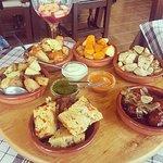 Tapas - spanish omelette, chorizo, tuna, spicy potatoes, meatballs and pork