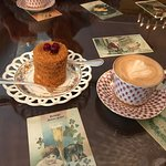 Dessert and cappuccino -- notice the lovely china.