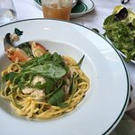 Crab Linguine with a Green Herb side salad