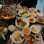 2 servings of bulgogi with cold soba noodles, tofu soup, and side dishes