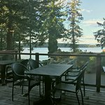 Restaurant patio with view of the inside passage