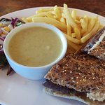 Beef sandwich with soup