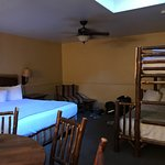 Family room with King bed and bunk beds