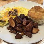 Omelet, Breakfast Potatoes, and Fresh Biscuit