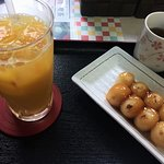 Snack of Dango and juice at the small souvenir shop.