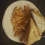 """Club sandwich with fries and """"Texas toast"""""""