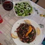 green salad and octopus salad (cold)