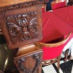 Clean velvet backed chairs, lovely woodwork