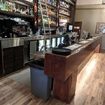"""This beautiful bar is actually a """"beam""""; one solid piece of timber."""