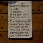 Description of the pirate ship 'Revenge'. The ship was part of the main display.