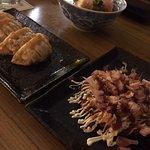agedashi tofu and gyoza