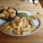 Scampi and Chips with Mushy Peas