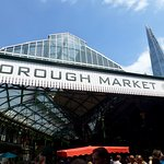 The famous Borough Market sign with The Shard in the background