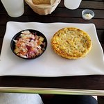 Crust-less Quiche with Apple and Cranberry Coleslaw