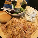 Pulled chicken, potato salad and side salad with Paul Newman's creamy ranch dressing. Delicious!