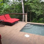 View from the room included the splash pool and the jungle with the Macal River visible below