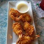 Coconut shrimp with rum sauce - way too sweet.