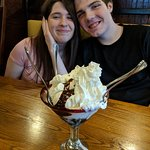 My daughter and her boyfriend with the table shared dessert!