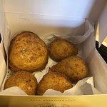 Beef and chicken empanadas and potato ball.
