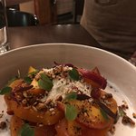 "Golden beets, white peaches, roasted hazelnuts, beet molasses with bleu cheese ""snow"""