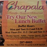 Newspaper ad for new lunch buffet...the buffet meat choices were very limited and disappointing.