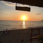 Sunset from our table at the Taverna