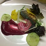 Mackerel with heritage beetroot, apple and dressed cucumber