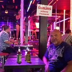 Drinking local beer at one of the bars in Bangla Road